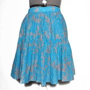 Old Navy Blue & Gray Floral A-Line Skirt L